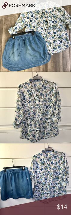 Old Navy Boyfriend Shirt Snap Button 1X Old Navy  Boyfriend shirt Snap buttons  1X   White with tiny floral print. Roll up the sleeves and see a cute blue/white checkered material.  Perfect alone or with a brightly colored cami and capris. Old Navy Tops Button Down Shirts