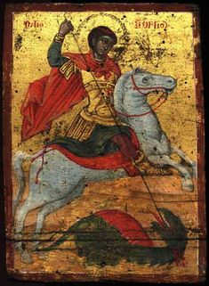 Portable icon of St. George; I inherited this icon from my husbands uncle. I always thought it was an image of satan, now the 'dragon' makes sense.