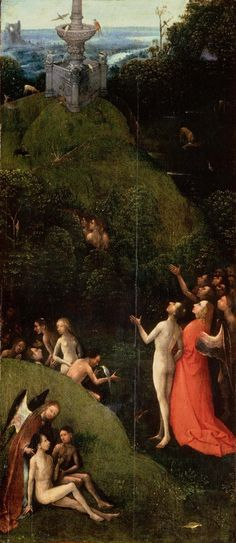 Hieronymus Bosch, El Paraiso Terrenal; Entre 1490 y 1516, Óleo sobre tabla, 86,5cmx39,5cm; Ubicación actual: Institución: Palazzo Grimani , Venecia.
