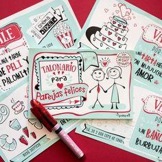 Talonario - para parejas felices #tiendaconalma #discapacidadintelectual #yosíquesé #papelería #adiósrutina #parejas #valepor #diseñográfico #arteconalma #talonario