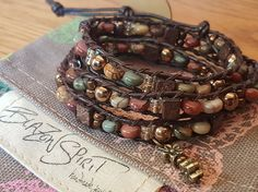 Beaded leather wrap bracelet wrap Jasper by BlazonSpirit Beaded Leather Wraps, Leather Cord, Brown Leather, Gold Line, Antique Gold, Jasper, Spirit, Bohemian, Stone