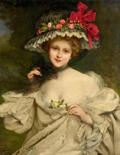 fleurdulys: A Beauty with a Red-Ribboned Hat - Francois Martin-Kavel Vintage Prints, Vintage Art, Vintage Ladies, Victorian Art, Victorian Women, Vintage Pictures, Vintage Images, Francois Martin, Tres Belle Photo