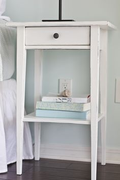 Brown-black Hemnes nightstand to distressed white nightstand.