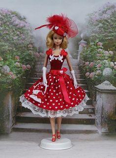 """Robe """" Valentine """" vêtement pour poupée Barbie f3788"""