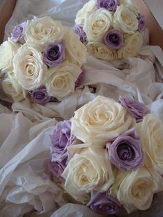 Classic hand tied bouquets with oversized ivory and 'Ocean song' Lilac Roses Purple Bouquets, Wedding Bouquets, Bella Wedding, Wedding Day, Lilac Roses, Hand Tied Bouquet, Bridal Flowers, Flower Ideas, Reception Decorations