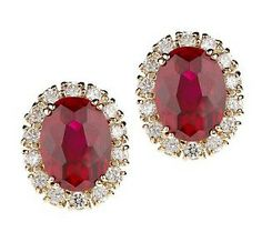 Jacqueline Kennedy simulated Ruby oval cluster earrings
