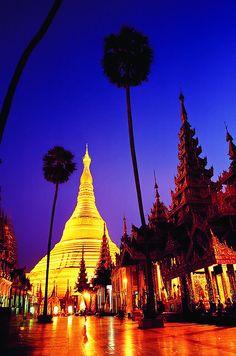 The Shwedagon Paya at dusk. Myanmar, Burma.