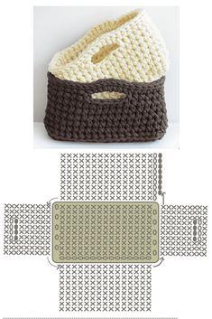 Free Crochet Bag, Crochet Tote, Crochet Handbags, Crochet Purses, Diy Crochet, Crochet Crafts, Crochet Basket Pattern, Crochet Stitches Patterns, Crochet Diagram