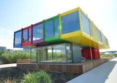 Container homes, many other examples at http://www.inspirationgreen.com/container-homes.html