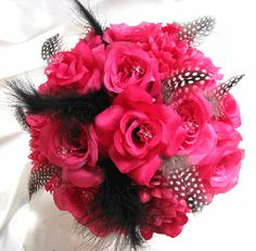 Hot Pink Wedding Bouquets | Wedding Bouquet Bridal Silk Flowers Hot Pink Fuchsia Black 17pc ...