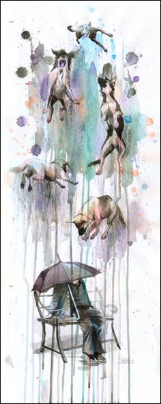 """Rain Dogs"" by Lora Zombie. 16x40 $49.99 http://www.eyesonwalls.com/search?type=product&q=rain+dogs"