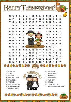 This is a simple wordsearch puzzle for teaching or revising Thanksgiving related vocabulary. Recommended for elementary students who are asked to read the words given and then find them in t Thanksgiving Word Search, Thanksgiving Worksheets, Thanksgiving Words, Thanksgiving Crafts For Kids, Thanksgiving Parties, Thanksgiving Appetizers, Thanksgiving Outfit, Thanksgiving Decorations, Thanksgiving Recipes