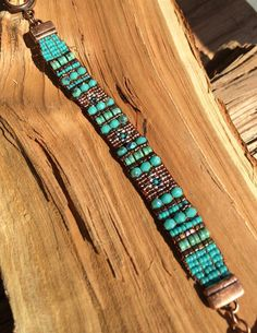 This Sundance style loomed bracelet is a great New accessory for you! The Southwest colors will accent many outfits. All of the beads and