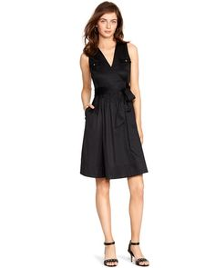 White House | Black Market Sleeveless Safari Wrap Dress #whbm Love the lines on this.  Potentially hides some flaws
