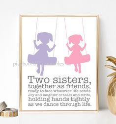 Sister Bedroom, Girls Bedroom, Bedroom Ideas, Bedroom Decor, Big Sister Little Sister, Little Sisters, Baby Sister, Rainbow Nursery, Rainbow Art