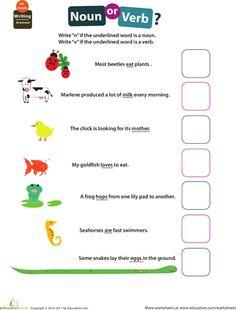 Worksheets: Get into Grammar: Noun or Verb?