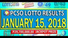 PCSO Lotto Results - January 15, 2018 | 6/55, 6/45, 4D, SWERTRES & EZ2 L... Lotto Results, February 12, Youtube, Youtubers, Youtube Movies