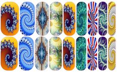 Fractal Nail Wraps  Easy Apply Nail Decals The latest trends in nail art brought to you by Geek Craft Factorium. These lovely wraps can be applied over varnish on either your natural or false nails. ENJOY AWESOME NAILS  Nail Wrap Listings are for one sheet of 18 images to put on your nails. 1 sheet can easily be used for both your toes and fingers and still have some left over. Images do need to be cut to desired shape  Better than Jamberrys because 1. Won't ruin your nails, make them…