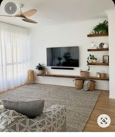 Living Room Tv, Home And Living, Living Room Decor Small Apartment, Warm Living Rooms, Tv Unit For Bedroom, Tv On Wall Ideas Living Room, Living Room Wall Shelves, Kitchen Interior, Interior Design Living Room