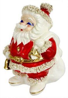 Vintage Spaghetti Santa Bank with Bell Christmas Past, All Things Christmas, Xmas, White Christmas, Vintage Christmas Crafts, Christmas Decorations, Holiday Decor, Christmas Figurines, Christmas Ornaments