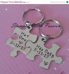 Spring Sale His and Her Puzzle Piece Keychain Set  With Date - Couples -Wedding -Anniversary Key chain