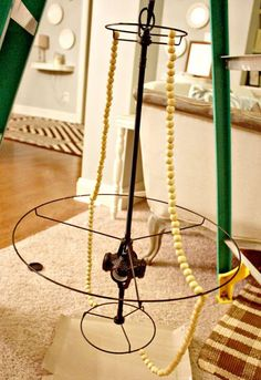 Gus & Lula: The chandelier. - Mara Fonseca Gus & Lula: The chandelier. Gus & Lula: The chandelier. Wood Bead Chandelier, Luxury Chandelier, Make A Chandelier, Pearl Chandelier, Pendant Lamps, Pendant Lights, Young House Love, Outdoor Light Fixtures, Outdoor Lighting