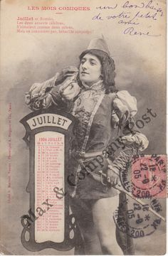 Antique French Romeo postcard poem July 1904 calendar by MaxAndCoPost, $7.99