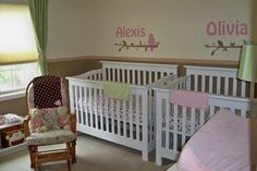 Twin Baby Girl Nursery Ideas Pink and Green