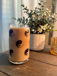 Iced Coffee Glass / Glass Coffee Cup / Beer Can Glass / Yin Yang Personalized Starbucks Cup, Custom Starbucks Cup, Glass Coffee Cups, Shot Glass Set, Reusable Cup, Glitter Cups, Rainbow Swirl, Iced Coffee, Beer