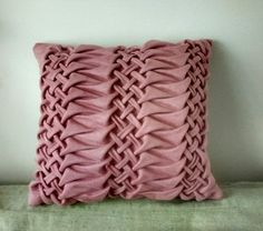 Pink/beige throw hand smocked pillow by OlenaW on Etsy