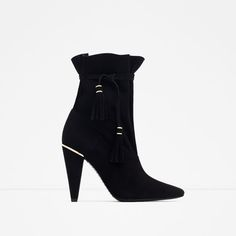 ZARA - WOMAN - HIGH HEEL LEATHER ANKLE BOOTS WITH TASSELS