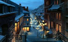 Old Quebec. Quebec at night is one of the most memorable places to see. and dream about. City Wallpaper, Painting Wallpaper, Windows Wallpaper, Old Quebec, Quebec City, Belle Image Nature, Canada Christmas, Christmas Night, Christmas Scenery