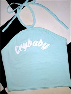 Are you blind? It's a lonely tear drop! Crybabbyyyyyy.... Crybabbyyyyyy.... Crybabbyyyyyy....  #OMIGHTY halter neck tank top ft. screen print Cotton elastane blend All over stretch Cropped
