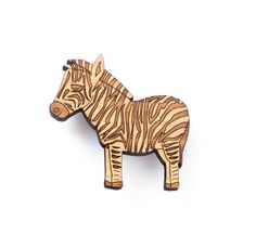 Zebra brooch - laser cut jewellery - wooden animal brooch - eco friendly wood - African jewelry - animal pin