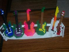 Perler bead guitars and stand