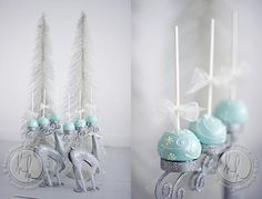 winter wonderland cake pops - love the innovative use of the candle holders
