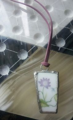Floral Pendant with Purple Faux Suede Necklace by Stars2Beads, $7.50