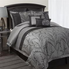 Flower+Texture+8-pc+Silver+Comforter+Set