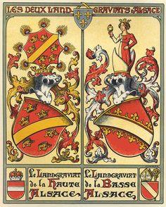 Les deux Landgraviats d'Alsace : la Haute-Alsace et la Basse-Alsace -- par Hansi (=Jean-Jacques Waltz), dans «L'Art Héraldique en Alsace», tome 1 : Les armes des villes et communes, Berger-Levrault, 1938.