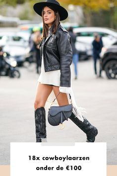 girl | woman | sadle bag | dior | leather | jacket | cowboy boots | black | shopping| buy now | hat | under 100 euros