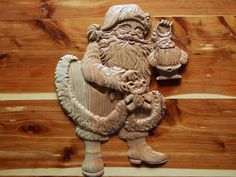 Santa Claus Decorations ~ Christmas Wall Decorations ~ Wall Appliques Santa ~ Wood Wall Decorations ~ Unique Wall Appliques ~ Santa Claus - pinned by pin4etsy.com