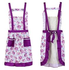 Purple Apron Kitchen Accessories Ruffled Floral Aprons