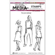 Scribbly Fashion Icons Dina Wakley Media Cling Stamps 6 x9