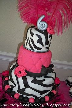 Zebra & Pink Cake add a 2 to tha 6!!! yayayaya!!