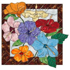 """Stained Glass Art by Nik """"Hibiscus 2"""" Digital Stained Glass Art-Stained Glass-Glass Art - Glass Art by Nik"""