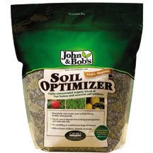 John & Bob'S Soil Optimizer- Rejuvenates poor, tired soil.  This 100% organic blend of concentrated, fully decomposed humus and other essential soil additives is simply spread over existing lawns or gardens and watered in. It's completely safe with no risk of burning plants or over-applying. Spreading 3 lbs. over 1000 sq. ft. gives the same result as working in hundreds of pounds of compost humus. Starts improving soil the season its applied.