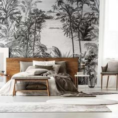 Black and white tropical wallpaper, foliage mural Grey Jungle Wallpaper, Palm Leaf Wallpaper, Tropical Wallpaper, Dream Bedroom, Home Bedroom, Bedroom Decor, Interior Architecture, Interior And Exterior, Japanese Bedroom