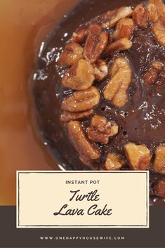 These outrageously decadent turtle lava cakes are topped with caramel and pecans, have an ooey-gooey chocolatey center, and are so easy to make. #instantpot #lavacake #recipe #dessert via @onehappyhousewife