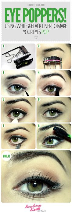 Using black & white eyeliners to make your eyes 'pop'