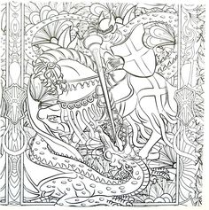 Knight On Horseback Fighting Dragon Detailed Coloring Book Page For Adults